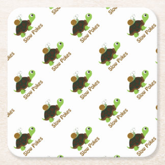 Slow Pokes Cute Turtle and Snail Square Paper Coaster