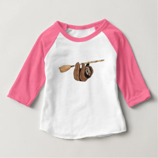Slow Ride - Sloth on Flying Broom Baby T-Shirt