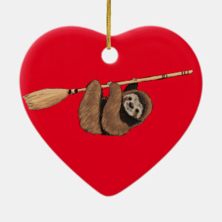Slow Ride - Sloth on Flying Broom Ceramic Ornament