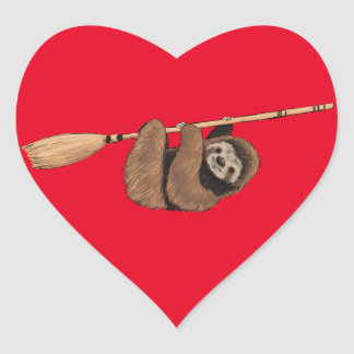 Slow Ride - Sloth on Flying Broom Heart Sticker