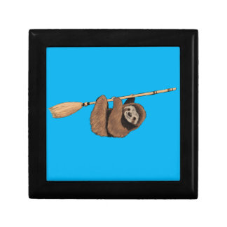 Slow Ride - Sloth on Flying Broom Small Square Gift Box