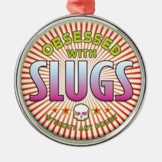 Slugs Obsessed R Silver-Colored Round Decoration
