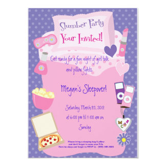 "Slumber Parting or Sleep Over! 5.5"" X 7.5"" Invitation Card"
