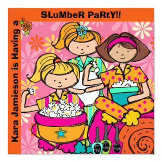 Slumber Party Birthday Customized Invites