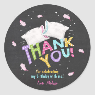 Slumber Party Favor Tags Thank You Sticker pillows