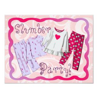Slumber Party Invitation, Pink and Purple PJ's 11 Cm X 14 Cm Invitation Card