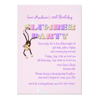 Slumber Party Monkey Invitation