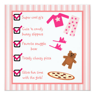 Slumber Party Pajamas Slippers Checklist 13 Cm X 13 Cm Square Invitation Card