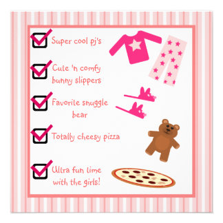 Slumber Party Pajamas Slippers Checklist Personalized Invites