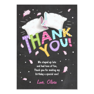Slumber party Pajamas Thank You Card Sleepover