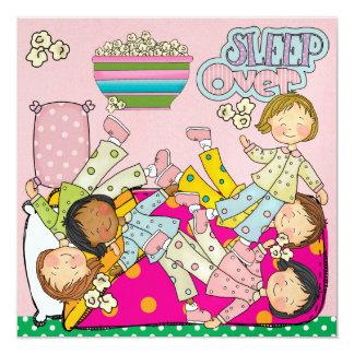 Slumber Party - Sleep Over 13 Cm X 13 Cm Square Invitation Card