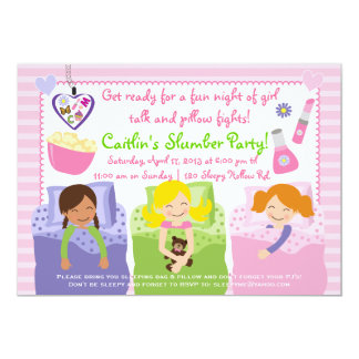 SLUMBER PARTY WITH MY FRIENDS! 13 CM X 18 CM INVITATION CARD