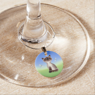 Sly Cat Wine Glass Charm