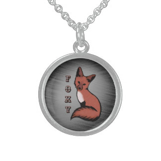 Sly Red Foxy Fox Sterling Silver Necklace