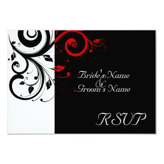 Sm Black +White Red Swirl Wedding Matching RSVP Card