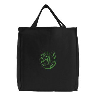 Sm Horse Head W\Horseshoe Embroidered Tote Bags