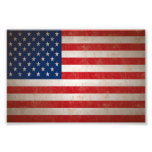 Sm. Vintage Grunge Style American Flag Photo Print