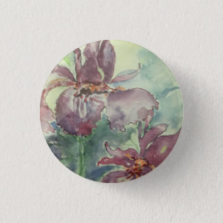 "Small 1 1/4"" round button with flower"