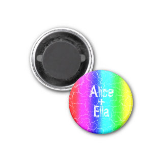 Small 3.2 Cm Rainbow Round Magnet for a Couple