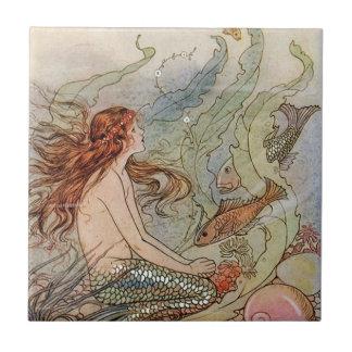 "Small (4.25"" x 4.25"") Ceramic Mermaid Tile"