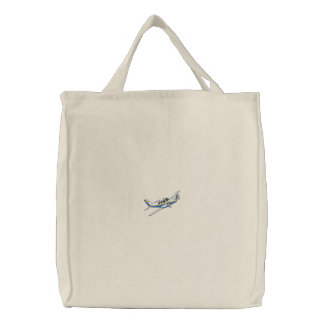 Small Airplane Embroidered Tote Bag
