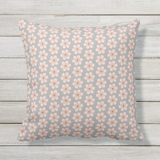 Small and Large 6 Petal Cherry Blossom Outdoor Cushion