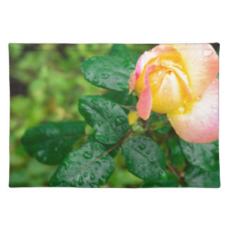 Small autumn rose with droplets place mat