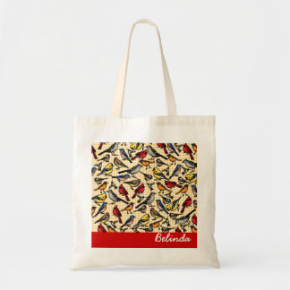 Small Backyard Birds on Gingham, Personalized Budget Tote Bag