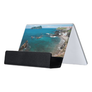 Small bay and islet desk business card holder