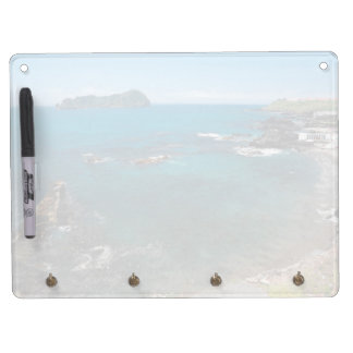 Small bay and islet dry erase board with key ring holder