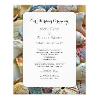 Small Beach Wedding Seashell Wedding Program 11.5 Cm X 14 Cm Flyer