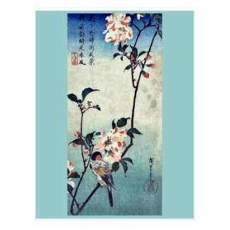 Small bird on a branch by Andō,Hiroshige Postcard