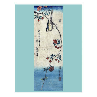 Small bird on a branch by Ando,Hiroshige Postcard