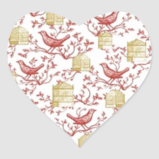 Small birds and Cages Heart Sticker
