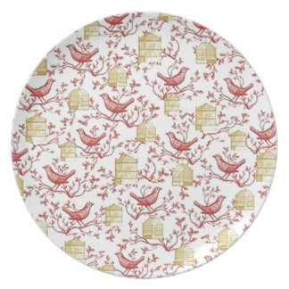 Small birds and Cages Plate