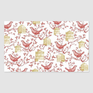 Small birds and Cages Rectangular Sticker