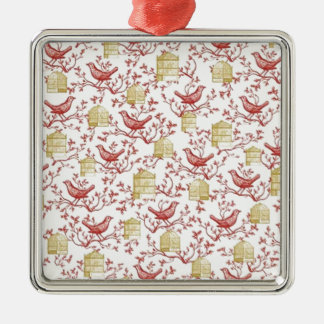 Small birds and Cages Silver-Colored Square Decoration
