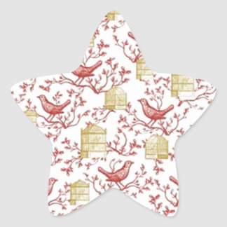 Small birds and Cages Star Sticker