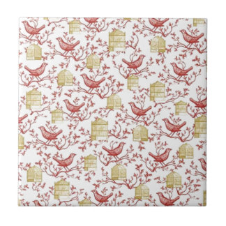 Small birds and Cages Tile