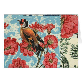 Small birds and flowers - Greeting card