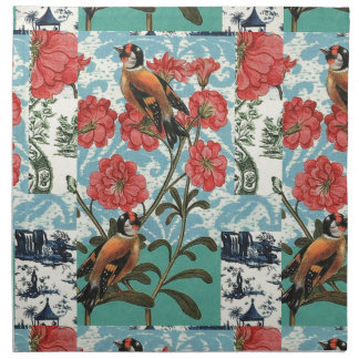 Small birds and flowers napkin