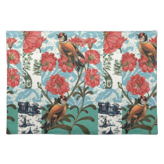 Small birds and flowers place mats