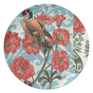 Small birds and flowers plate