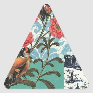 Small birds and flowers triangle sticker