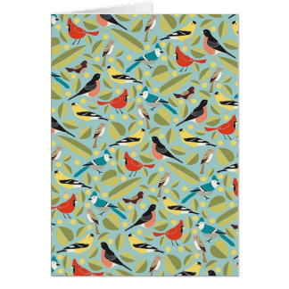 Small birds of colors - Greeting card