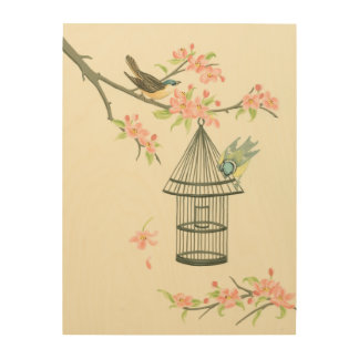 Small Birds Perched on a Branch and on a Birdcage Wood Wall Decor