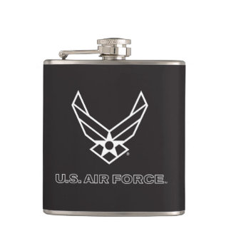 Small Black Air Force Logo with Outline Hip Flask