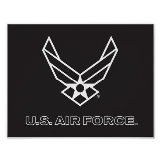 Small Black Air Force Logo with Outline Poster