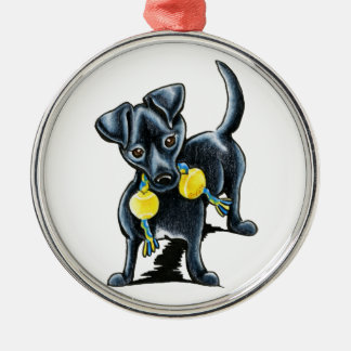 Small Black Dog Tucker Metal Ornament