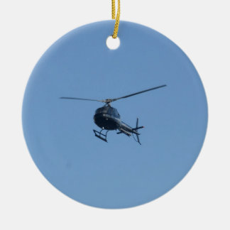 Small black helicopter. ceramic ornament
